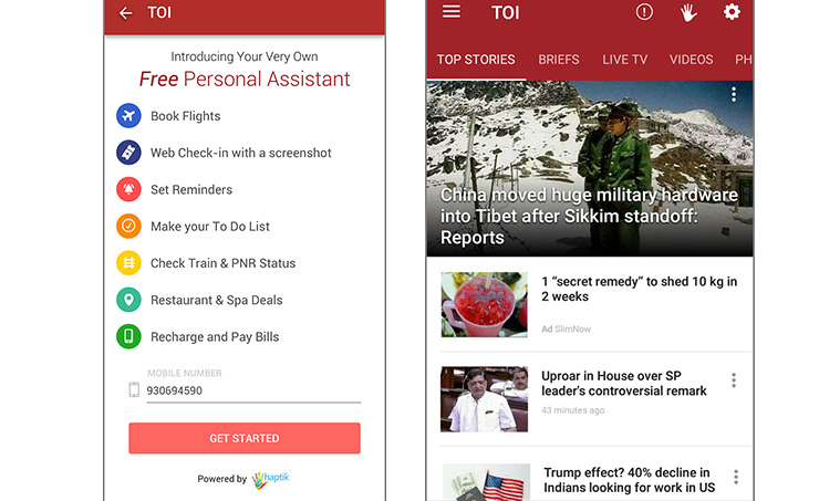 Haptik Integrates its Chatbot in The Times of India App